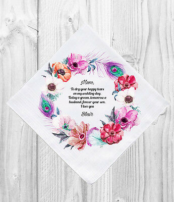 Mother of the Groom Wedding Gift Favour Personalised Handkerchief Hankie
