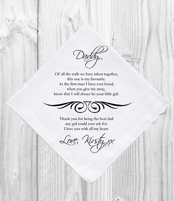 Father of the Bride Wedding Gift Favour Personalised Handkerchief Hankie