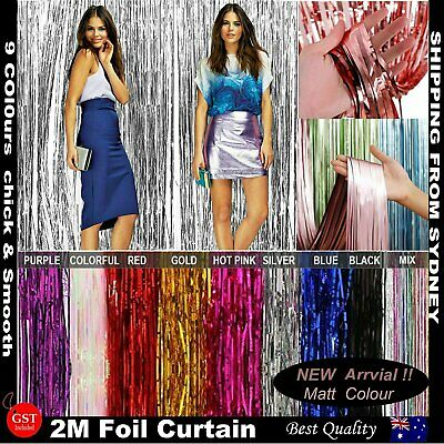 2mx1m Metallic Tinsel Curtain Foil Backdrop Wedding Birthday Party Door Decorati