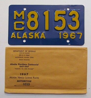 Mint 1967 Alaska Motorcycle License Plate MC 8153 w/ Envelope Unused