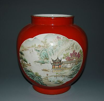 Rare Chinese Famille Rose Porcelain Big Pot Jar Person Landscape Decoration