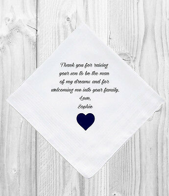 Father Mother of the Groom Wedding Gift Favour Personalised Handkerchief Hankie