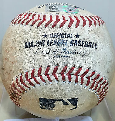 TREVOR STORY GAME-USED MLB BASEBALL from HR #11 AB v CAIN ROCKIES 5/5/16 ROOKIE