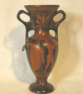"Attic Red"" Figured Young Athletes"" Dual Handled Vase Museum< Hand Made in Greece"