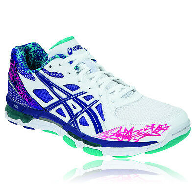 ASICS Gel-Netburner Professional 10 Womens White Blue Netball Shoes Trainers