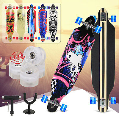 "Feldus 41"" LED Longboard DROP THROUGH Skateboard ABEC-7 Komplettboard LED Rollen"