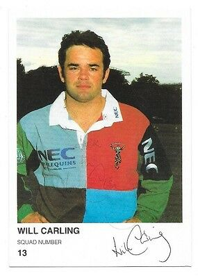 Will Carling (Harlequins) - Signed Postcard.