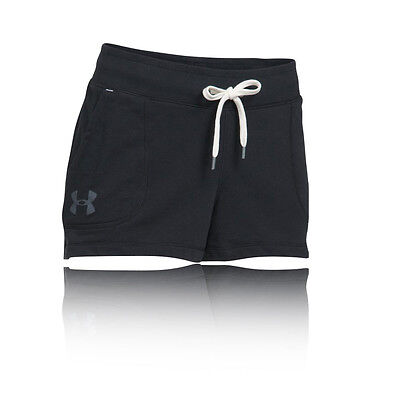 Under Armour Favorite French Terry Mujer Negro Correr Gimnasio Shorts Pantalones