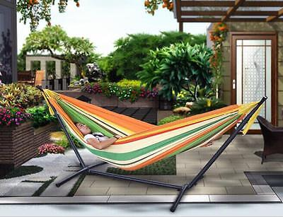 Portable Outdoor Cotton Canvas  Brazilian Multi-Color Double Hammock With Stand