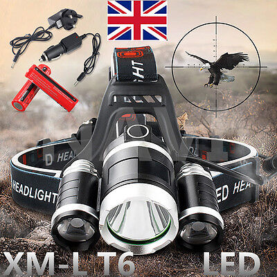 10000LM T6 3 CREE XML LED Headlamp Head Light Torch Lamp Rechargeable Flashlight