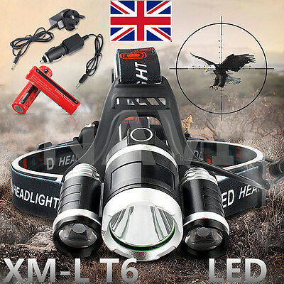 12000LM T6 3 CREE XML LED Headlamp Head Light Torch Lamp Rechargeable Flashlight