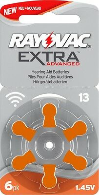*NEW* IMPROVED LONG TAB Rayovac Extra MERCURY FREE Hearing Aid Batteries Size 13