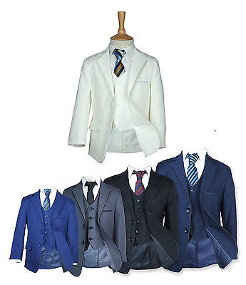 Page Boy Suits, Italian Wedding Prom Boys Suit in Black, Grey, Blue, Navy, Ivory