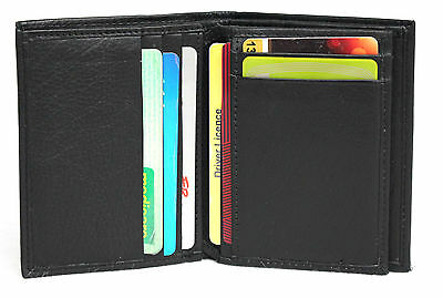 RFID Security Lined Leather Card Holder / Wallet. Black. Style No: 11016