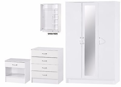 White Gloss Two Tone 3 Piece Bedroom Set 3 Door Mirrored Wardrobe Chest Bedside