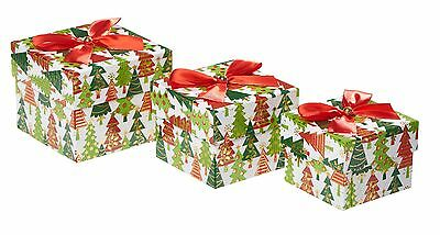 Square Christmas Gift Boxes - Multiple Christmas Trees - Nest of 3 GBB045