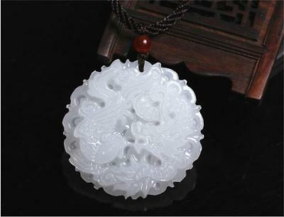 Natural Chinese white jade Jadeite pendant necklace dragon hand-carved