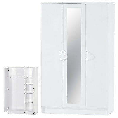White High Gloss Two Tone 3 Door Triple Mirrored Wardrobe Bedroom Furniture