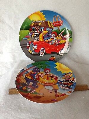 Lot of  1998 McDonald's Collector Plates Beach Ronald and Surfing Hamburgler Car