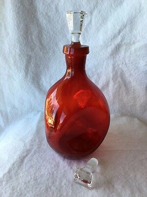Vintage Cranberry Glass Decanter With Clear Glass Stopper Mcm Coolness!