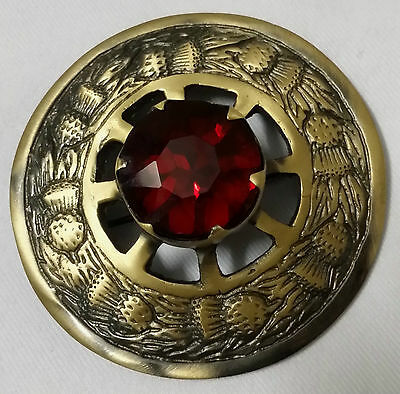 Men's Traditional Scottish Thistle Brooch Antique for Kilt Fly Plaid Red Stone