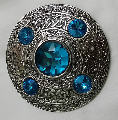 Mens Kilt Fly Plaid Brooch Sky Blue Stone Antique/Ladies Celtic Brooches/Shawl