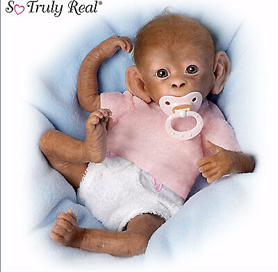 "Ashton Drake Baby Monkey Doll""coco"" Poseable Weighted With Nappy - Dummy"