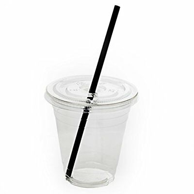 50 Sets Plastic Clear Cups with Flat Lids and Straws (12 oz) New