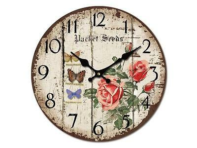 Large Vintage Rustic Wall Clocks Shabby Chic Roses & Butterflies