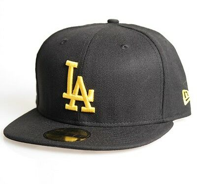 LA Dodgers 59FIFTY  Mens MLB Seasonal Baseball Cap By New Era Black Size 7 1/8