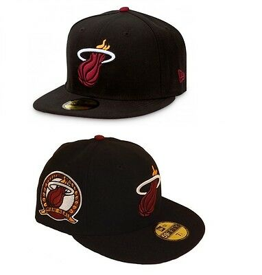 Miami Heat Patched Team NBA Fitted Team Cap By New Era Black Size 7 3/8