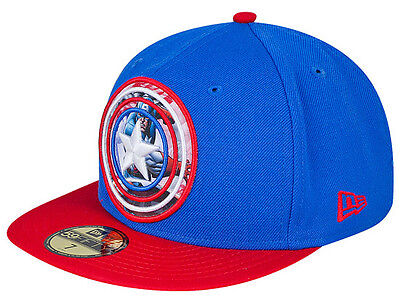 New Era Captain America Subaction 59FIFTY Fitted Baseball Cap Size 7 1/4