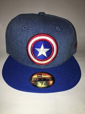 Captain America 59FIFTY Fitted Baseball Cap By New Era Size 7 1/4