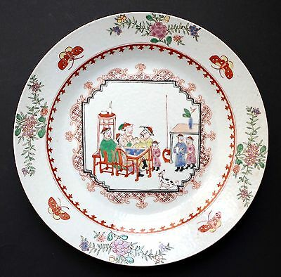 Chinese 18th c. Export Famille Rose Porcelain Plate figural Décor Qianlong Reign