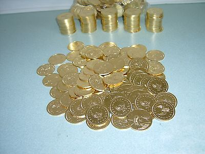 100 $1 Golden Slot Machine Tokens - Newly Minted Dollar Size