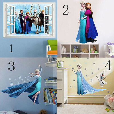 Removable Disney Frozen Elsa Anna Mural Home Decal Wall Stickers Kids Xmas Gift