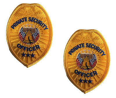2 (TWO) PRIVATE SECURITY  Guard Officer GOLD Uniform Shirt Hat Patch