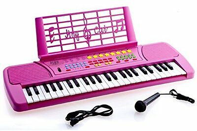 D'Luca KB49PK Children 49 Keys Electronic Piano Music Keyboard Color Pink w/Mic