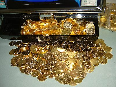200 Golden Slot Machine Tokens - Freshly Minted Dollar Size  - Free Shipping