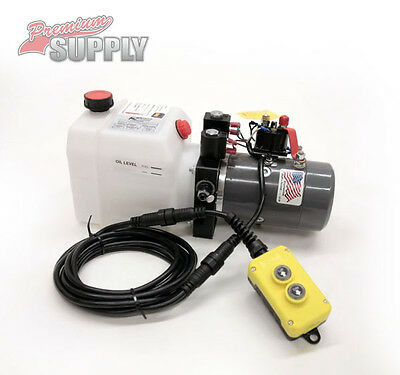 Double Acting Hydraulic Pump for Dump Trailers KTI - 12 VDC - 3 Quart Reservoir