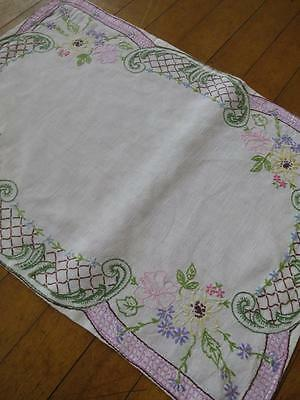Beautiful Antique Arts & Crafts Irish Linen Hand Embroidered Tray Cloth