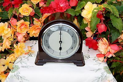 "Stunning Smiths Enfield Bakelite Antique Art Deco ""time Only"" Mantel Clock, 1951"