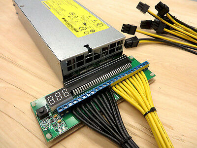 Breakout Board Adapter for HP 1200w PSU w/ 10 6 Pin 2 Wire PCIe Antminer S7 S9