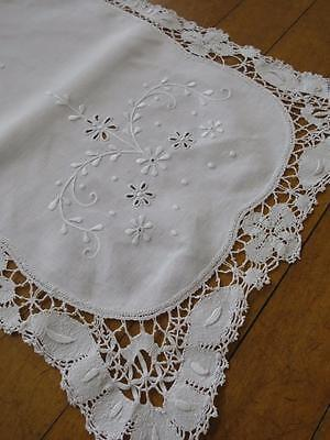 Victorian Irish Linen Tray Cloth- Hand Worked Bobbin Lace & Hand Embroidery