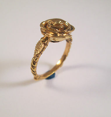 14 Kt Solid Yellow Gold Rose Ring Size 8