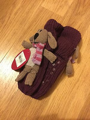 BNWT TU Girls Purple Totes Socks with Teddy Bear Attached - size: 12-3