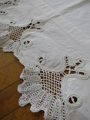 Unusual Antique Mantle Cover- Hand Worked Bruges Bobbin Lace
