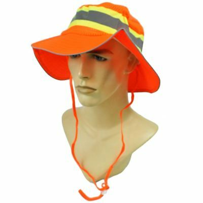 630e1903448426 Neon Construction Safety Hat Reflective Silver Tape Booney Mesh Large XL Hat  Cap