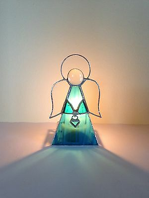 Handmade Stained Glass Angel Tealight Candle Holder Heart blue Glass Gift