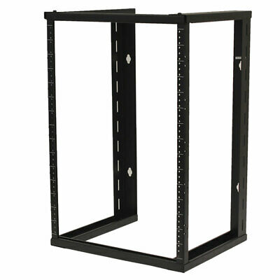 "15U Wall Mount Open Frame 19"" Server Equipment Rack Threaded 15 inch depth Black"